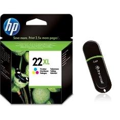 HP 2x CARTUCHO TINTA HP 22XL C9352CE TRICOLOR + MEMORIA USB 8GB DE REGALO