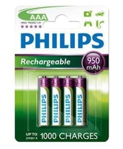 PHILIPS BLISTER PHILIPS CUATRO PILAS AAA RECARGABLE R03NM 950mAh MULTILIFE NiMH 1.2V