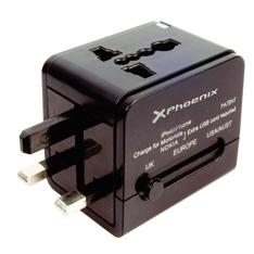 PHOENIX TECHNOLOGIES CARGADOR USB ADAPTADOR UNIVERSAL VIAJE PHOENIX CUALQUER CLAVIJA MUNDIAL 2 x USB NEGRO