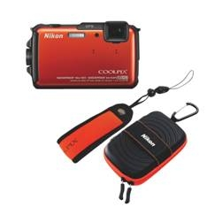 "NIKON KIT CAMARA DIGITAL NIKON COOLPIX AW110 NARANJA 16MP ZO 5X HD LCD 3"" LITIO/ GPS/ SUMERGIBLE 18m/ WIFI + CINTA P/CASCO + MUÑEQUERA SUMERGIBLE"