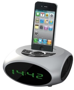 NEVIR RADIO RELOJ DESPERTADOR NEVIR NVR-350 PLATA IPHONE IPOD USB