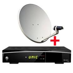 QVIART RECEPTOR SATELITE QVIART UNIC+ KIT COMPLETO ANTENA PARABOLICA TV SATELITE SATYCON 60CM